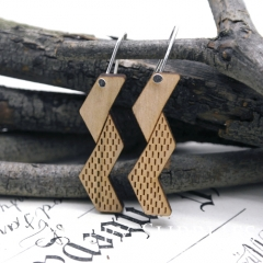 2pcs Laser Cut Wooden Dangle Earrings - HEW Series (HEW18)