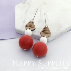 1 Pair Silicone Balls Laser Cut Geometric Wooden Dangle Earrings SBW08