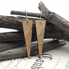 2pcs Laser Cut Wooden Dangle Earrings - HEW Series (HEW15)