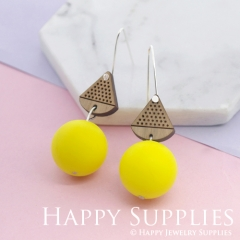 1 Pair Silicone Balls Laser Cut Geometric Wooden Dangle Earrings SBW28