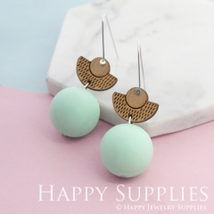 1 Pair Silicone Balls Laser Cut Geometric Wooden Dangle Earrings SBW23