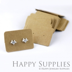 10pcs 34X25MM Kraft Paper Rectangle Earring Display Tags, Earring Display Cards