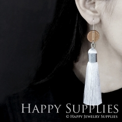 1 Pair Laser Cut Geometric Wooden Fashion Elegant White Silky Long Tassel Dangle Earrings (TW02)