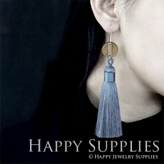 1 Pair Laser Cut Geometric Wooden Fashion Elegant Silver Silky Long Tassel Dangle Earrings (TW13)