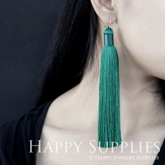 2Pcs Handmade Fashion Elegant Green Silky Long Tassel Earrings With 925 Silver Plated Brass Hooks (TS012)