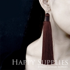 2Pcs Handmade Fashion Elegant Maroon Silky Long Tassel Earrings With 925 Silver Plated Brass Hooks (TS010)
