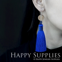 1 Pair Laser Cut Geometric Wooden Fashion Elegant Dark Blue Silky Long Tassel Dangle Earrings (TW10)