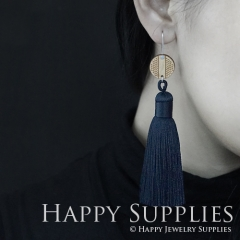 1 Pair Laser Cut Geometric Wooden Fashion Elegant Dark Gray Silky Long Tassel Dangle Earrings (TW12)