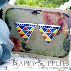10Pcs Triangle Geometry Colorful Triangle Handmade Photo Wood Cut Cabochon WG06