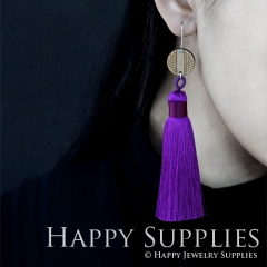 1 Pair Laser Cut Geometric Wooden Fashion Elegant Purple Silky Long Tassel Dangle Earrings (TW14)