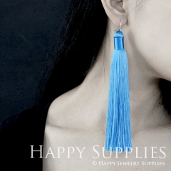 2Pcs Handmade Fashion Elegant Sky Blue Silky Long Tassel Earrings With 925 Silver Plated Brass Hooks (TS016)