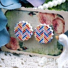 10Pcs 17.5mm Geometry Colorful Explosion Handmade Photo Wood Cut Cabochon WD35