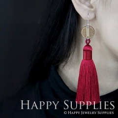 1 Pair Laser Cut Geometric Wooden Fashion Elegant Dark Red Silky Long Tassel Dangle Earrings (TW03)
