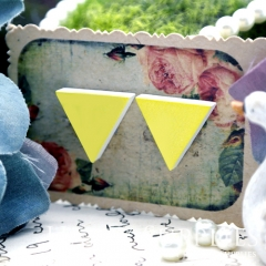 10Pcs Yellow Triangle Handmade Photo Wood Cut Cabochon WG38