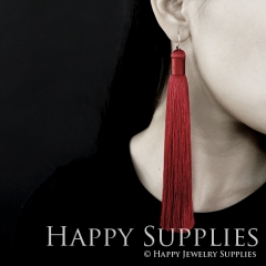 2Pcs Handmade Fashion Elegant Red Silky Long Tassel Earrings With 925 Silver Plated Brass Hooks (TS001)