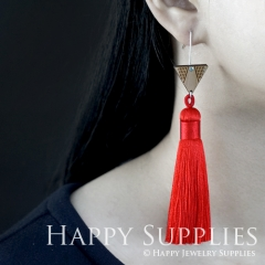 1 Pair Laser Cut Geometric Wooden Fashion Elegant Orange Silky Long Tassel Dangle Earrings (TW17)