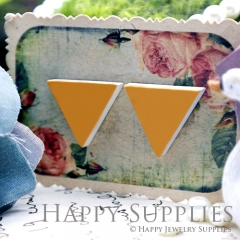 10Pcs Yellow Orange Triangle Handmade Photo Wood Cut Cabochon WG32