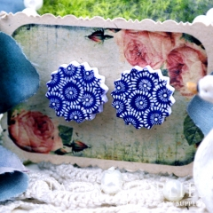 10Pcs 17.5mm Flower Blue Explosion Handmade Photo Wood Cut Cabochon WD10
