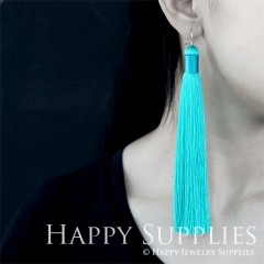 2Pcs Handmade Fashion Elegant Turquoise Silky Long Tassel Earrings With 925 Silver Plated Brass Hooks (TS009)