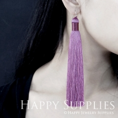 2Pcs Handmade Fashion Elegant Coral Silky Long Tassel Earrings With 925 Silver Plated Brass Hooks (TS015)