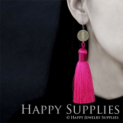 1 Pair Laser Cut Geometric Wooden Fashion Elegant Hot Pink Silky Long Tassel Dangle Earrings (TW11)