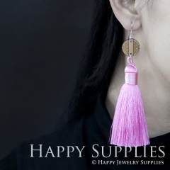 1 Pair Laser Cut Geometric Wooden Fashion Elegant Pink Silky Long Tassel Dangle Earrings (TW08)