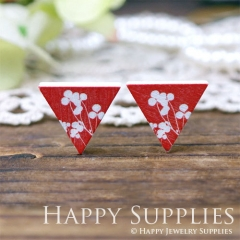 10Pcs Red Flower Triangle Handmade Photo Wood Cut Cabochon WG43