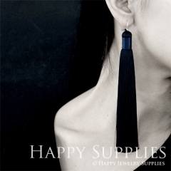 2Pcs Handmade Fashion Elegant Dark Navy Silky Long Tassel Earrings With 925 Silver Plated Brass Hooks (TS006)