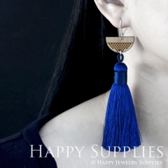 1 Pair Laser Cut Geometric Wooden Fashion Elegant Dark Blue Silky Long Tassel Dangle Earrings (TW15)