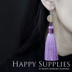 1 Pair Laser Cut Geometric Wooden Fashion Elegant Light Purple Silky Long Tassel Dangle Earrings (TW04)