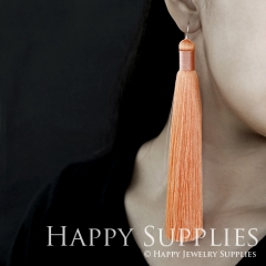 2Pcs Handmade Fashion Elegant Orange Silky Long Tassel Earrings With 925 Silver Plated Brass Hooks (TS002)