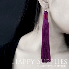 2Pcs Handmade Fashion Elegant Purple Silky Long Tassel Earrings With 925 Silver Plated Brass Hooks (TS013)
