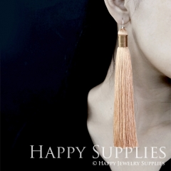 2Pcs Handmade Fashion Elegant Yellow Silky Long Tassel Earrings With 925 Silver Plated Brass Hooks (TS005)