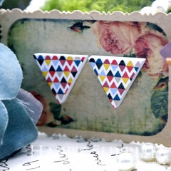 10Pcs Geometry Colorful Triangle Triangle Handmade Photo Wood Cut Cabochon WG10