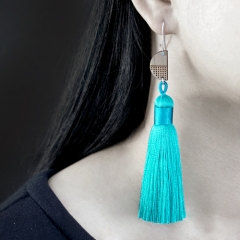 1 Pair Laser Cut Geometric Wooden Fashion Elegant Waterblue Silky Long Tassel Dangle Earrings (TW16)