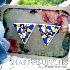 10Pcs Geometry Colorful Triangle Handmade Photo Wood Cut Cabochon WG25