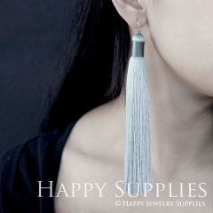 2Pcs Handmade Fashion Elegant Silver Silky Long Tassel Earrings With 925 Silver Plated Brass Hooks (TS014)