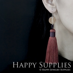 1 Pair Laser Cut Geometric Wooden Fashion Elegant Brown Silky Long Tassel Dangle Earrings (TW06)
