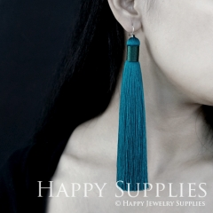 2Pcs Handmade Fashion Elegant Teal Silky Long Tassel Earrings With 925 Silver Plated Brass Hooks (TS011)
