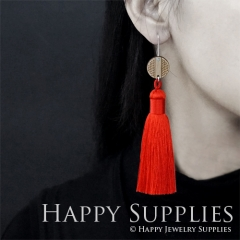 1 Pair Laser Cut Geometric Wooden Fashion Elegant Orange Silky Long Tassel Dangle Earrings (TW09)