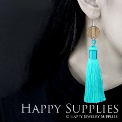 1 Pair Laser Cut Geometric Wooden Fashion Elegant Waterblue Silky Long Tassel Dangle Earrings (TW05)