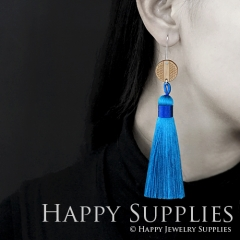 1 Pair Laser Cut Geometric Wooden Fashion Elegant Navy Silky Long Tassel Dangle Earrings (TW01)