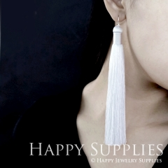 2Pcs Handmade Fashion Elegant White Silky Long Tassel Earrings With 925 Silver Plated Brass Hooks (TS003)