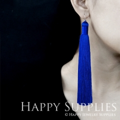 2Pcs Handmade Fashion Elegant Navy Silky Long Tassel Earrings With 925 Silver Plated Brass Hooks (TS004)