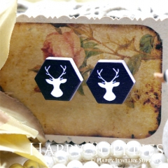10Pcs Deer Hexagon Handmade Photo Wood Cut Cabochon WE46