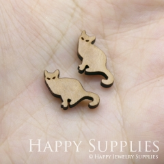 4pcs DIY Laser Cut Wooden Cat Charms SWC248