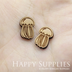 4pcs DIY Laser Cut Wooden Jellyfish Charms SWC257
