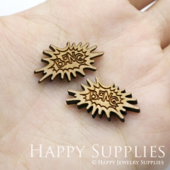 4pcs DIY Laser Cut Wooden BANG Charms SWC236