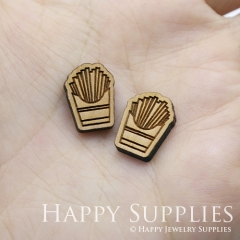 4pcs DIY Laser Cut Wooden French fries Charms SWC241