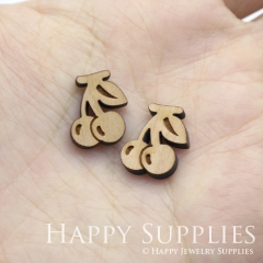 4pcs DIY Laser Cut Wooden Cherry Charms SWC251